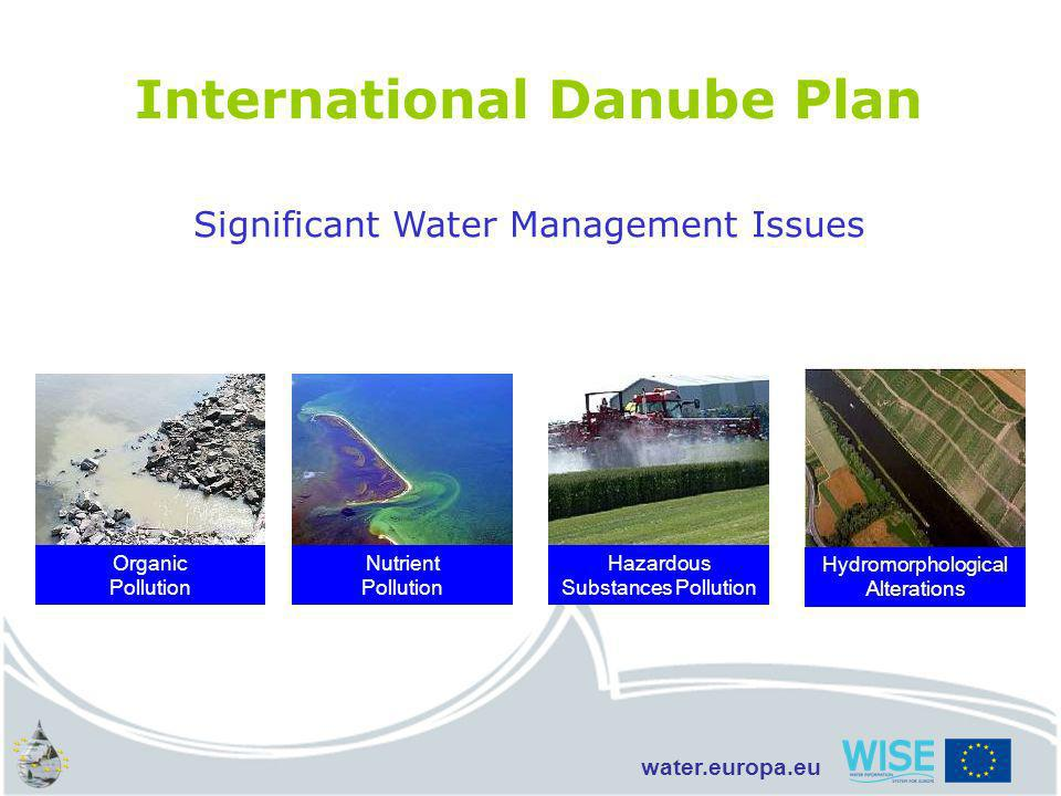 water.europa.eu Organic Pollution Nutrient Pollution Hazardous Substances Pollution Hydromorphological Alterations International Danube Plan Significant Water Management Issues