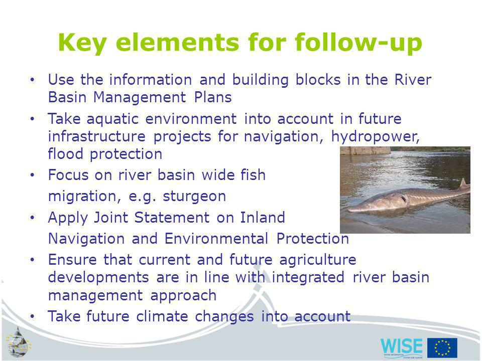 water.europa.eu Key elements for follow-up Use the information and building blocks in the River Basin Management Plans Take aquatic environment into account in future infrastructure projects for navigation, hydropower, flood protection Focus on river basin wide fish migration, e.g.