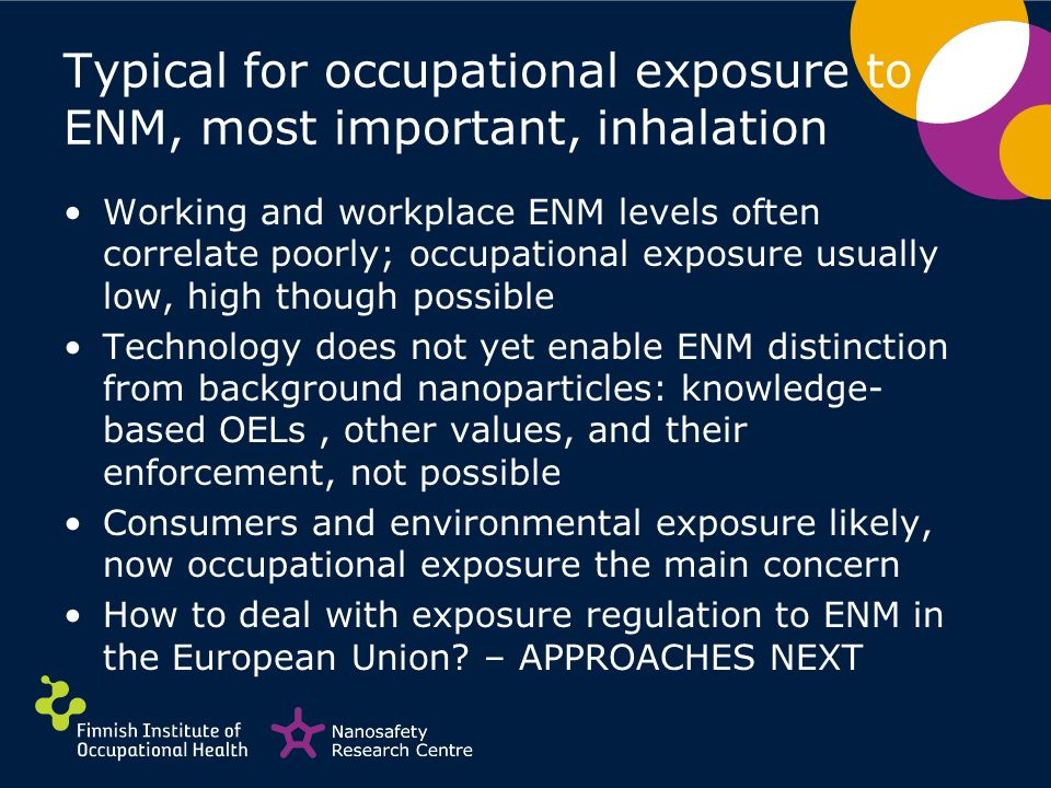 Typical for occupational exposure to ENM, most important, inhalation Working and workplace ENM levels often correlate poorly; occupational exposure us