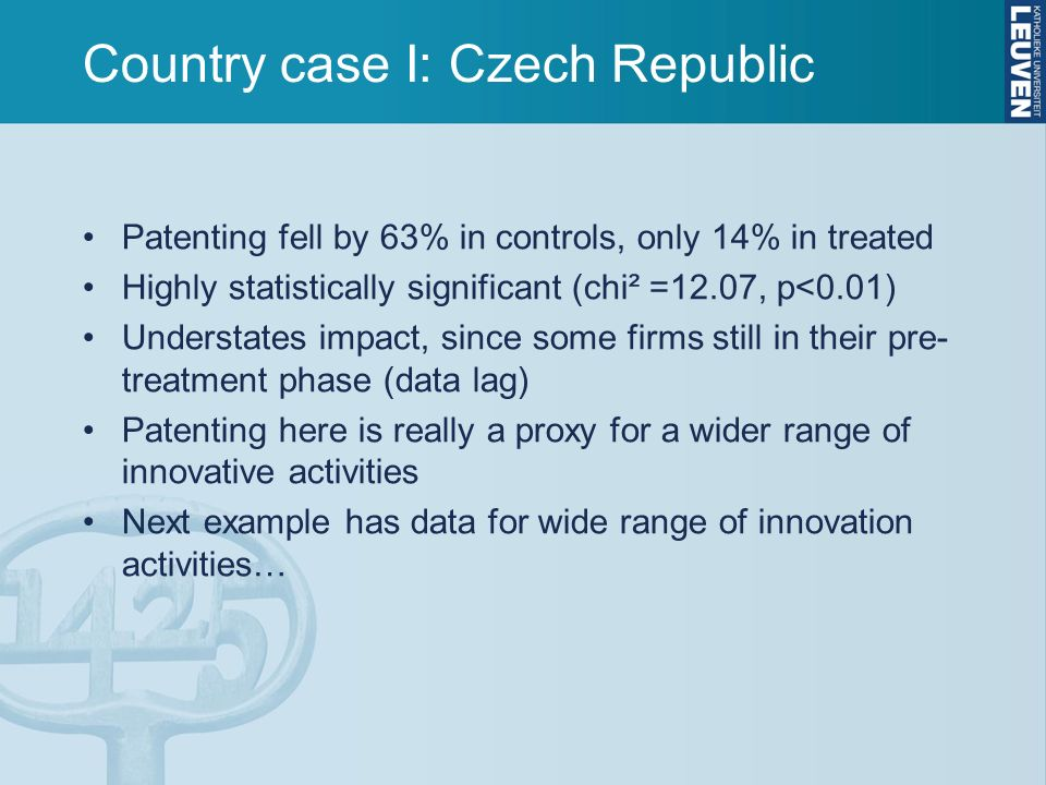 Country case I: Czech Republic Patenting fell by 63% in controls, only 14% in treated Highly statistically significant (chi² =12.07, p<0.01) Understates impact, since some firms still in their pre- treatment phase (data lag) Patenting here is really a proxy for a wider range of innovative activities Next example has data for wide range of innovation activities…