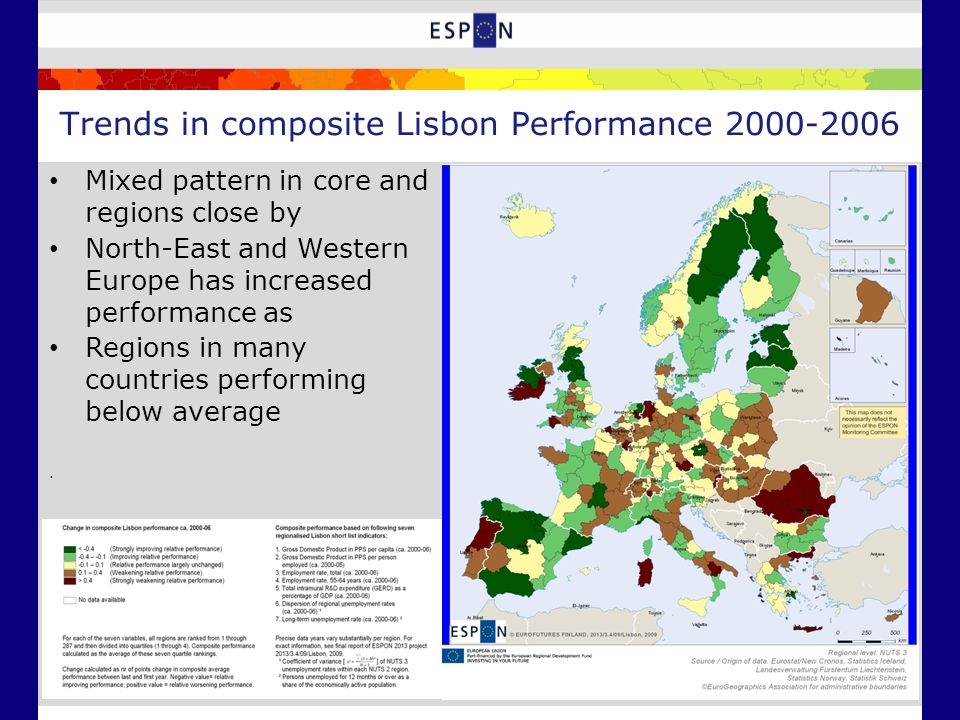 Trends in composite Lisbon Performance 2000-2006 Mixed pattern in core and regions close by North-East and Western Europe has increased performance as