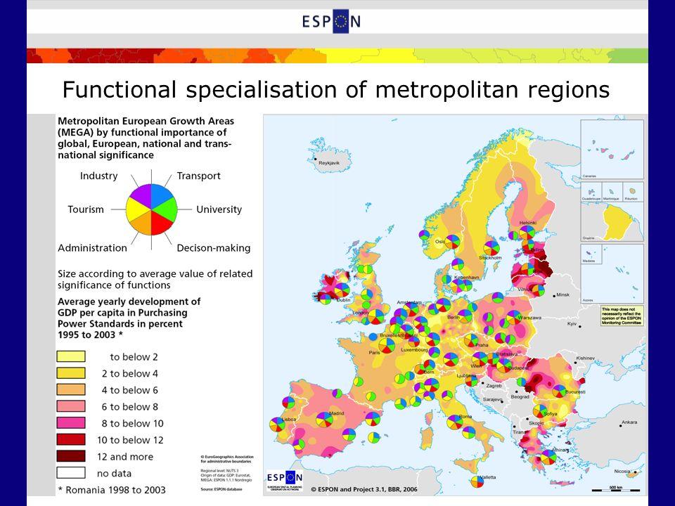 Functional specialisation of metropolitan regions