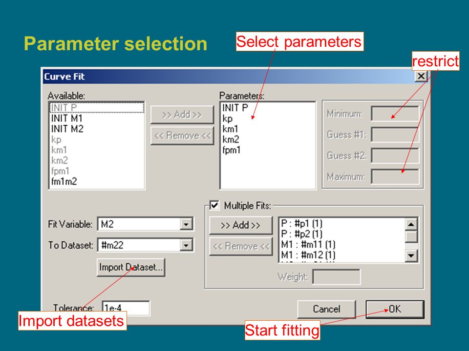 14 Parameter selection Select parameters restrict Import datasets Start fitting
