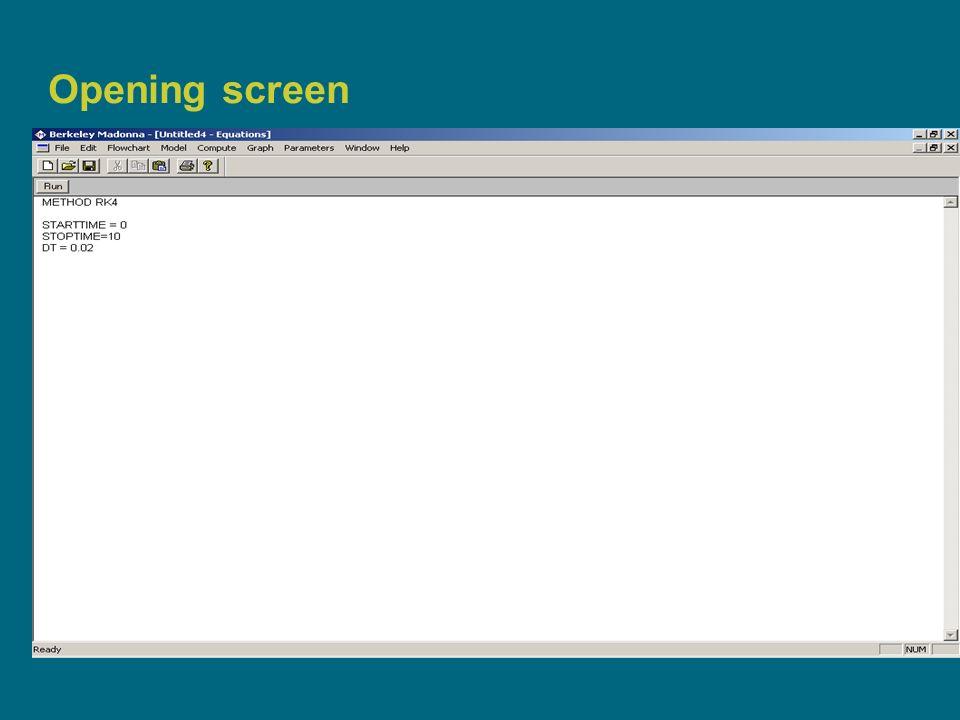 4 Opening screen