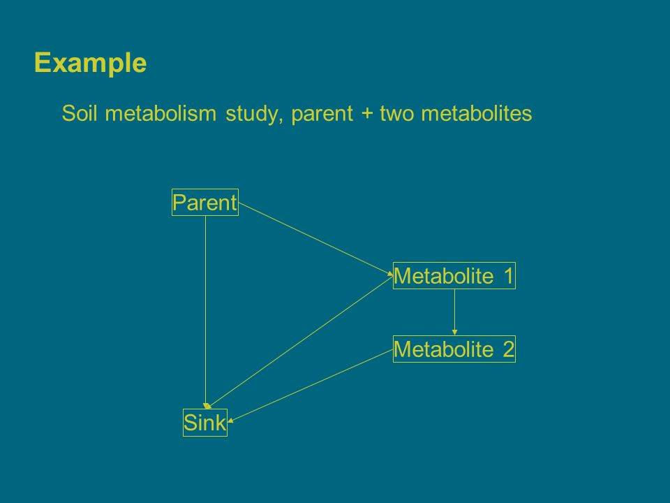 5 Example Soil metabolism study, parent + two metabolites Parent Metabolite 1 Metabolite 2 Sink