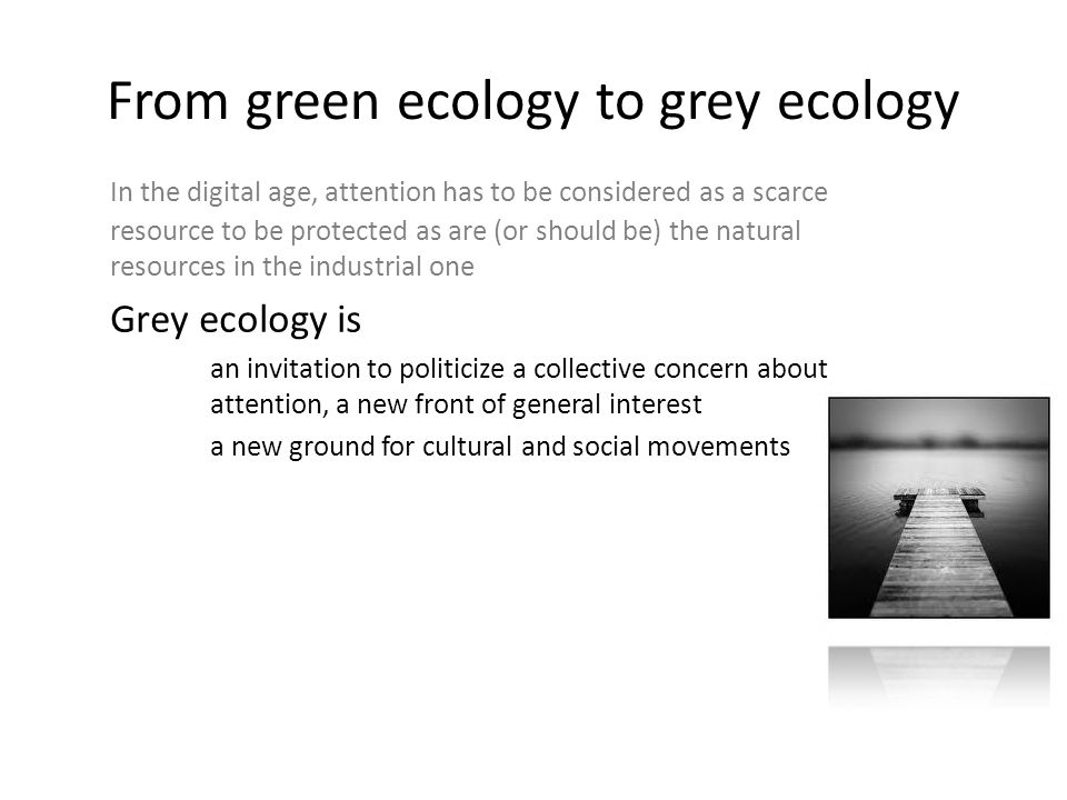 Grey ecology as a cultural ground for the digital era Grey ecology is a promising cultural and political path, allowing by a shared reflexivity about the digital technologies and their pollution, to sort out of the sterile pro and con debates (S.