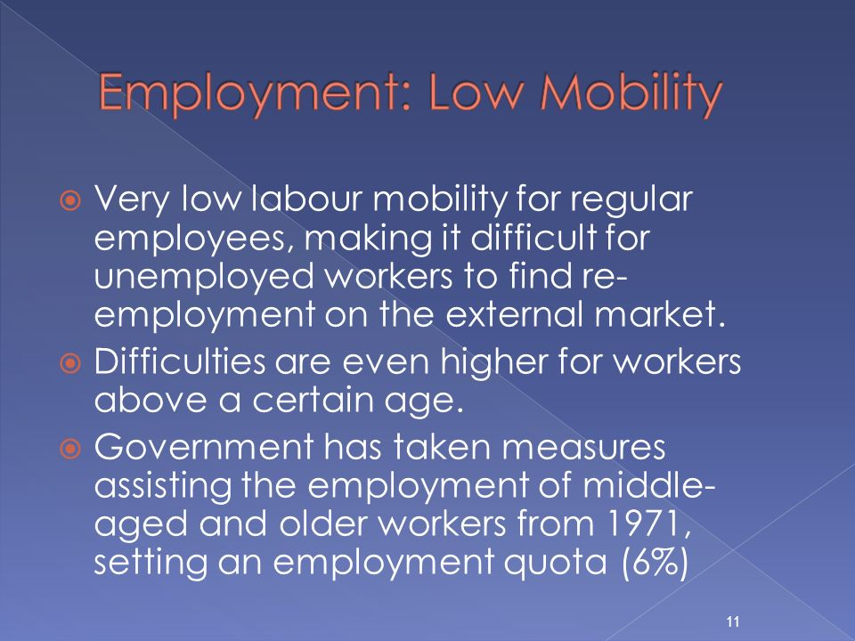 Very low labour mobility for regular employees, making it difficult for unemployed workers to find re- employment on the external market.