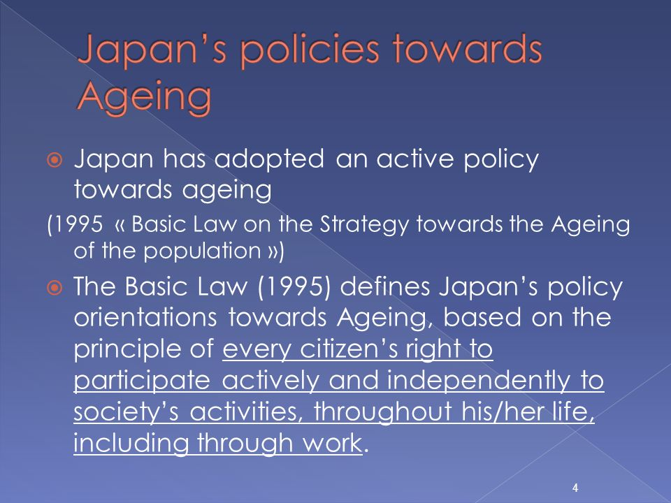Japan has adopted an active policy towards ageing (1995 « Basic Law on the Strategy towards the Ageing of the population ») The Basic Law (1995) defines Japans policy orientations towards Ageing, based on the principle of every citizens right to participate actively and independently to societys activities, throughout his/her life, including through work.