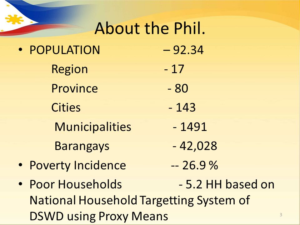 About the Phil. POPULATION – 92.34 Region - 17 Province - 80 Cities - 143 Municipalities - 1491 Barangays - 42,028 Poverty Incidence -- 26.9 % Poor Ho