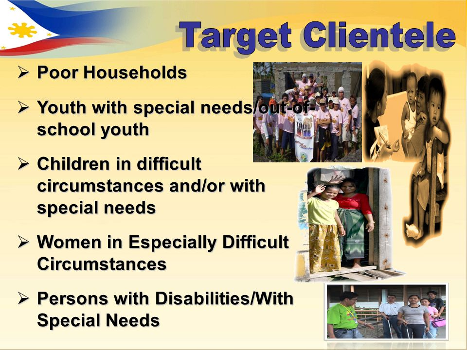 Poor Households Poor Households Youth with special needs/out-of- school youth Youth with special needs/out-of- school youth Children in difficult circ