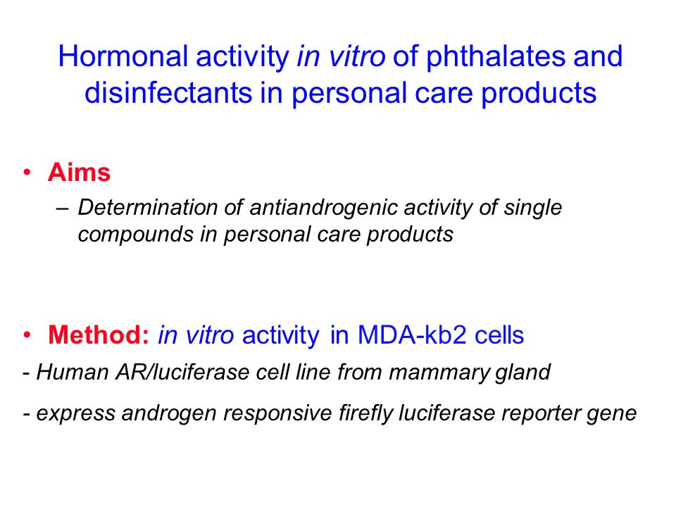 Hormonal activity in vitro of phthalates and disinfectants in personal care products Aims –Determination of antiandrogenic activity of single compound
