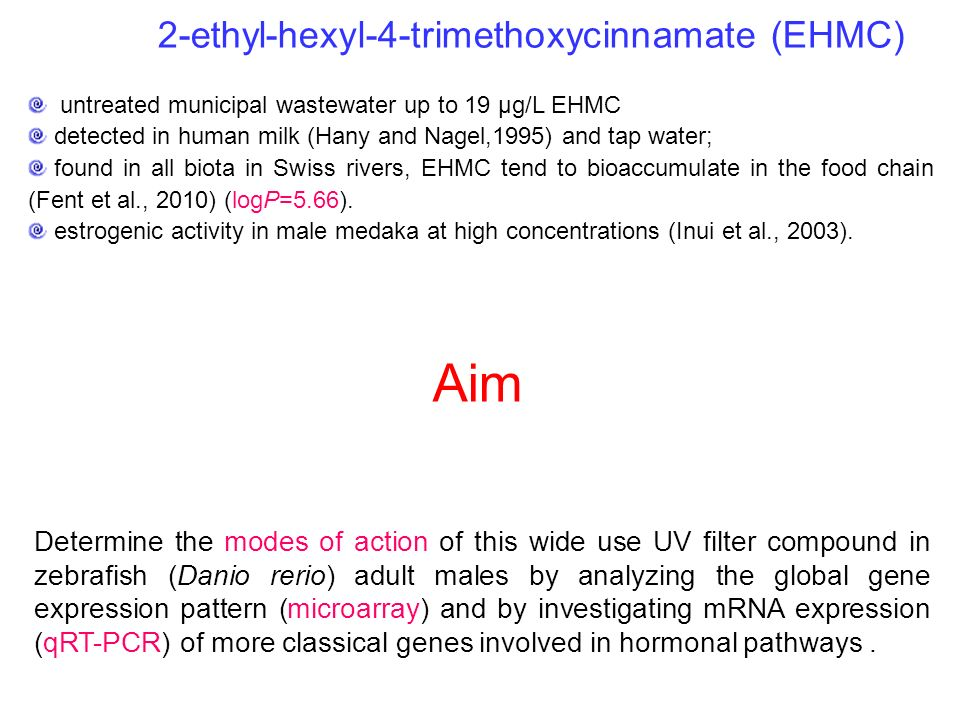 2-ethyl-hexyl-4-trimethoxycinnamate (EHMC) untreated municipal wastewater up to 19 μg/L EHMC detected in human milk (Hany and Nagel,1995) and tap wate