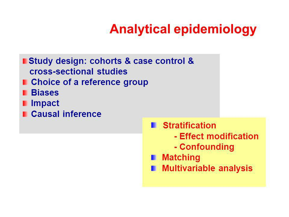 Analytical epidemiology Study design: cohorts & case control & cross-sectional studies Choice of a reference group Biases Impact Causal inference Stra