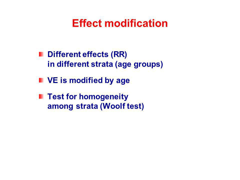 Effect modification Different effects (RR) in different strata (age groups) VE is modified by age Test for homogeneity among strata (Woolf test)