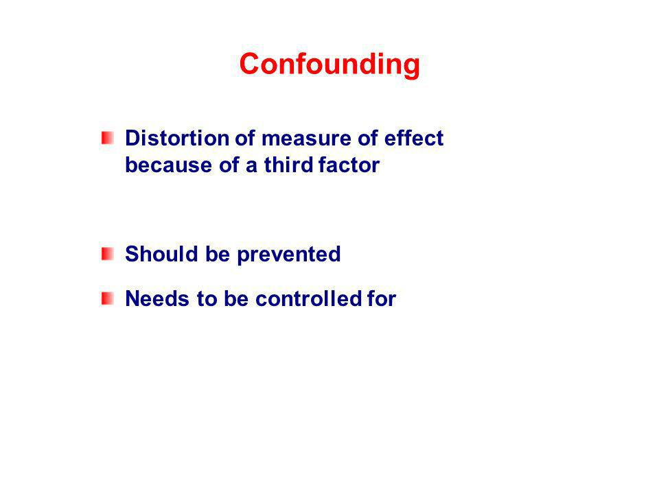 Distortion of measure of effect because of a third factor Should be prevented Needs to be controlled for