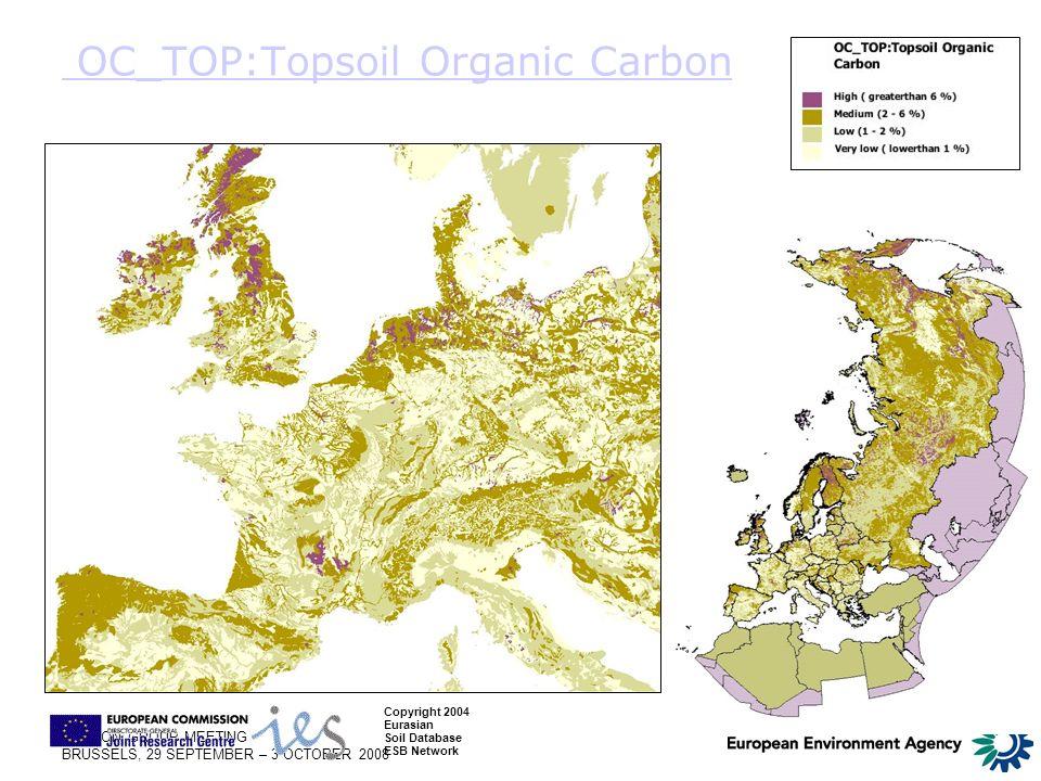 LONDON GROUP MEETING BRUSSELS, 29 SEPTEMBER – 3 OCTOBER 2008 OC_TOP:Topsoil Organic Carbon Copyright 2004 Eurasian Soil Database ESB Network