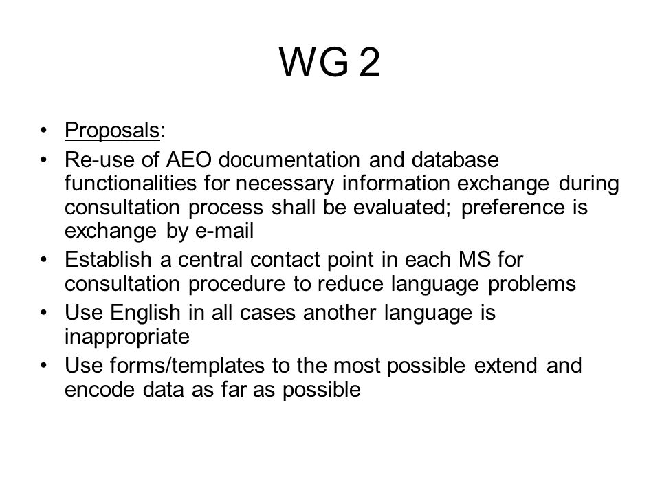 WG 2 How are necessary documents to provide.