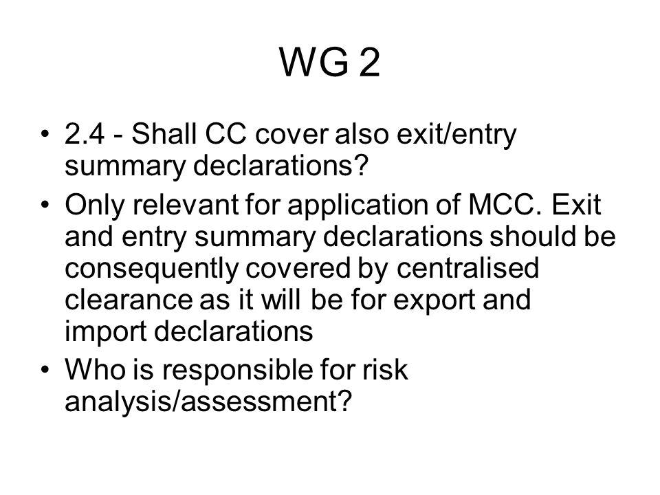 WG 2 2.5 - Shall CC cover summary declaration for temporary storage.