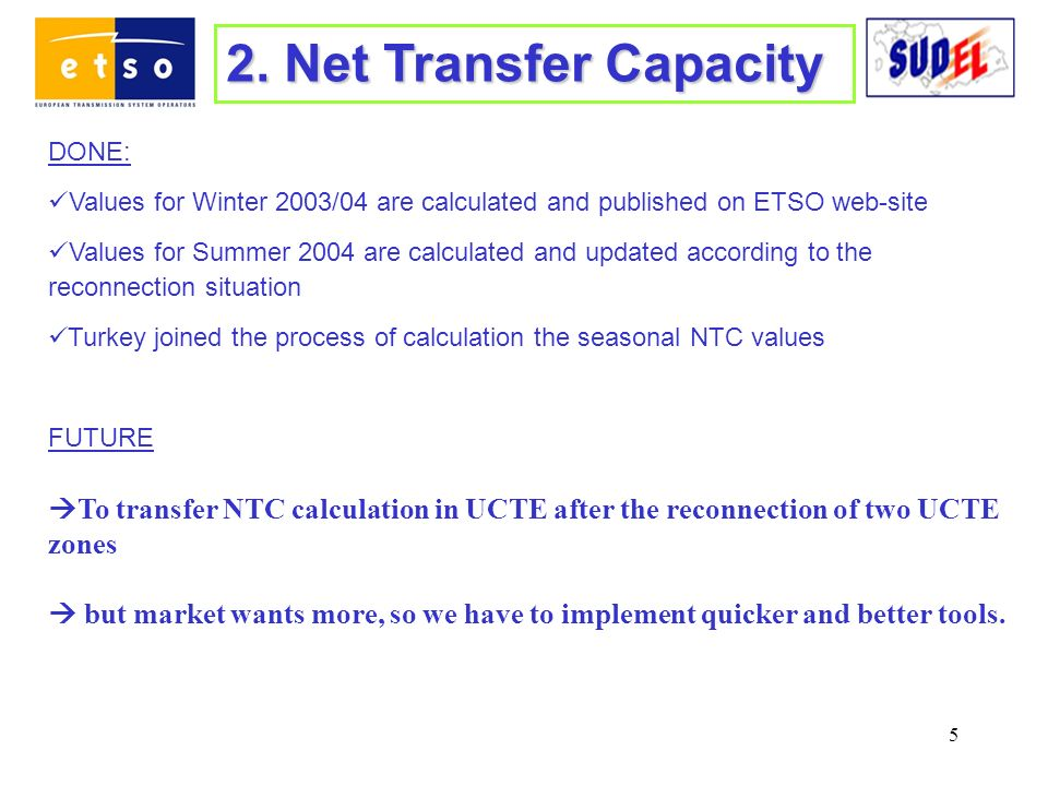 5 2. Net Transfer Capacity DONE: Values for Winter 2003/04 are calculated and published on ETSO web-site Values for Summer 2004 are calculated and upd