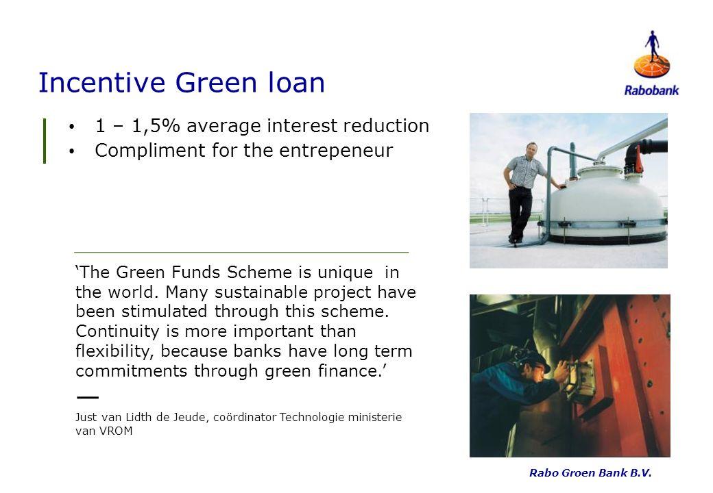 Incentive Green loan 1 – 1,5% average interest reduction Compliment for the entrepeneur Rabo Groen Bank B.V.