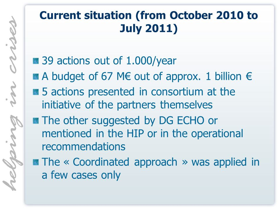 Current situation (from October 2010 to July 2011) 39 actions out of 1.000/year A budget of 67 M out of approx.