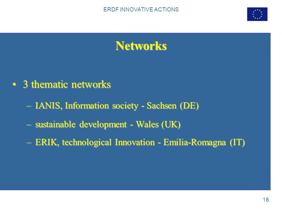 ERDF INNOVATIVE ACTIONS 18 Networks 3 thematic networks3 thematic networks –IANIS, Information society - Sachsen (DE) –sustainable development - Wales (UK) –ERIK, technological Innovation - Emilia-Romagna (IT)