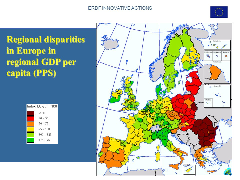 ERDF INNOVATIVE ACTIONS 3 Regional disparities in Europe in regional GDP per capita (PPS) Source: Second progress report on economic and social cohesi