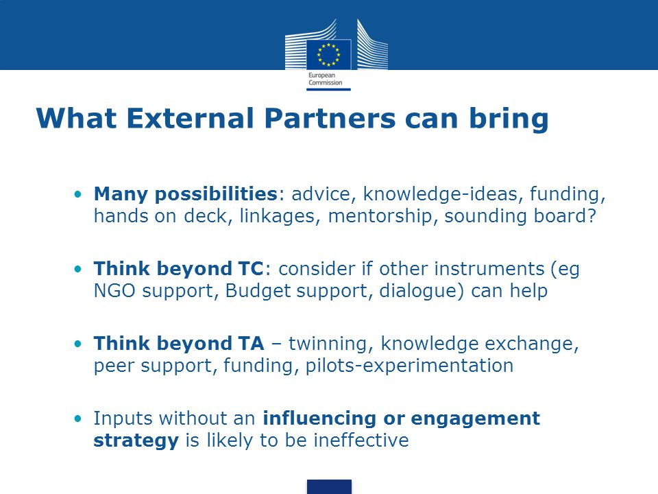 What External Partners can bring Many possibilities: advice, knowledge-ideas, funding, hands on deck, linkages, mentorship, sounding board? Think beyo