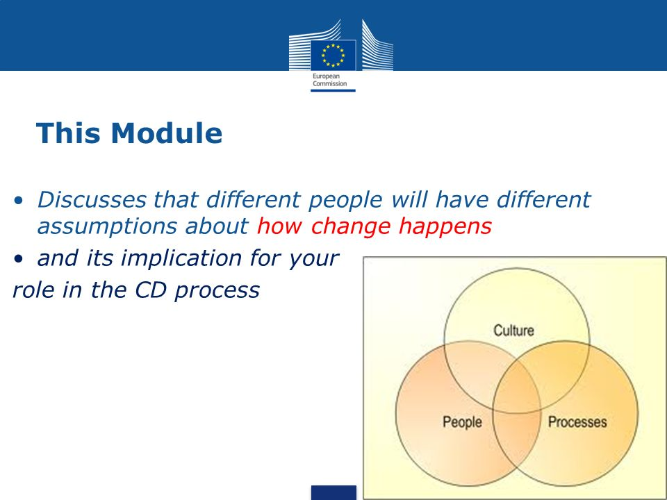This Module Discusses that different people will have different assumptions about how change happens and its implication for your role in the CD process