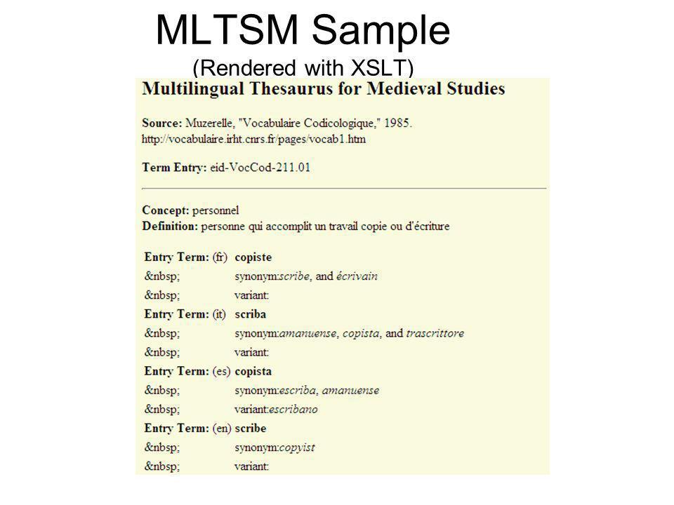 MLTSM Sample (Rendered with XSLT)