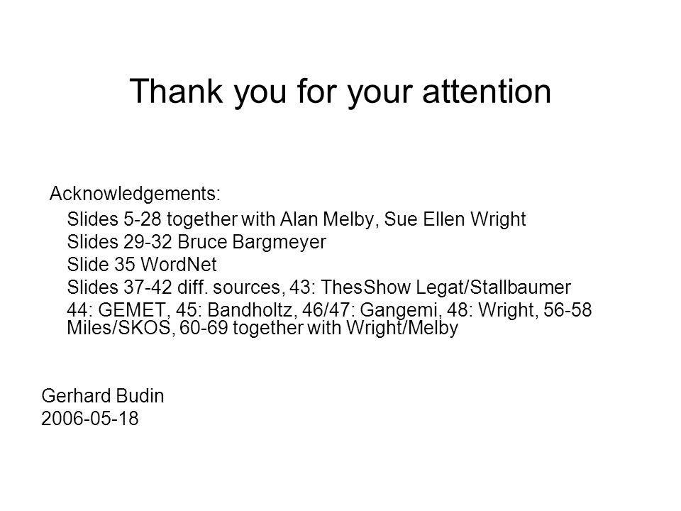 Thank you for your attention Acknowledgements: Slides 5-28 together with Alan Melby, Sue Ellen Wright Slides 29-32 Bruce Bargmeyer Slide 35 WordNet Sl