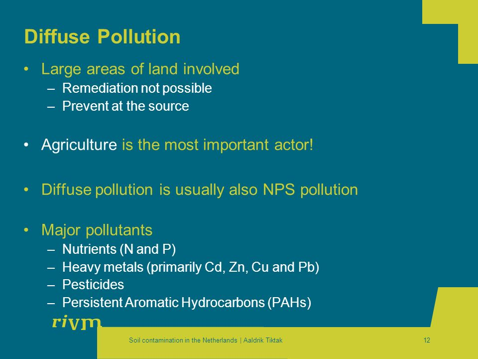 Soil contamination in the Netherlands | Aaldrik Tiktak12 Diffuse Pollution Large areas of land involved –Remediation not possible –Prevent at the sour