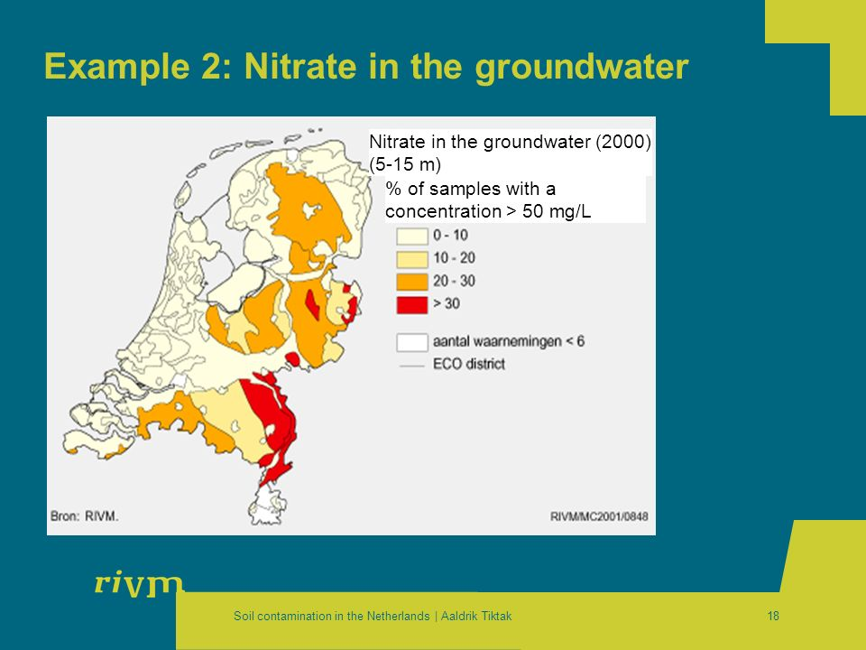 Soil contamination in the Netherlands | Aaldrik Tiktak18 Example 2: Nitrate in the groundwater Nitrate in the groundwater (2000) (5-15 m) % of samples