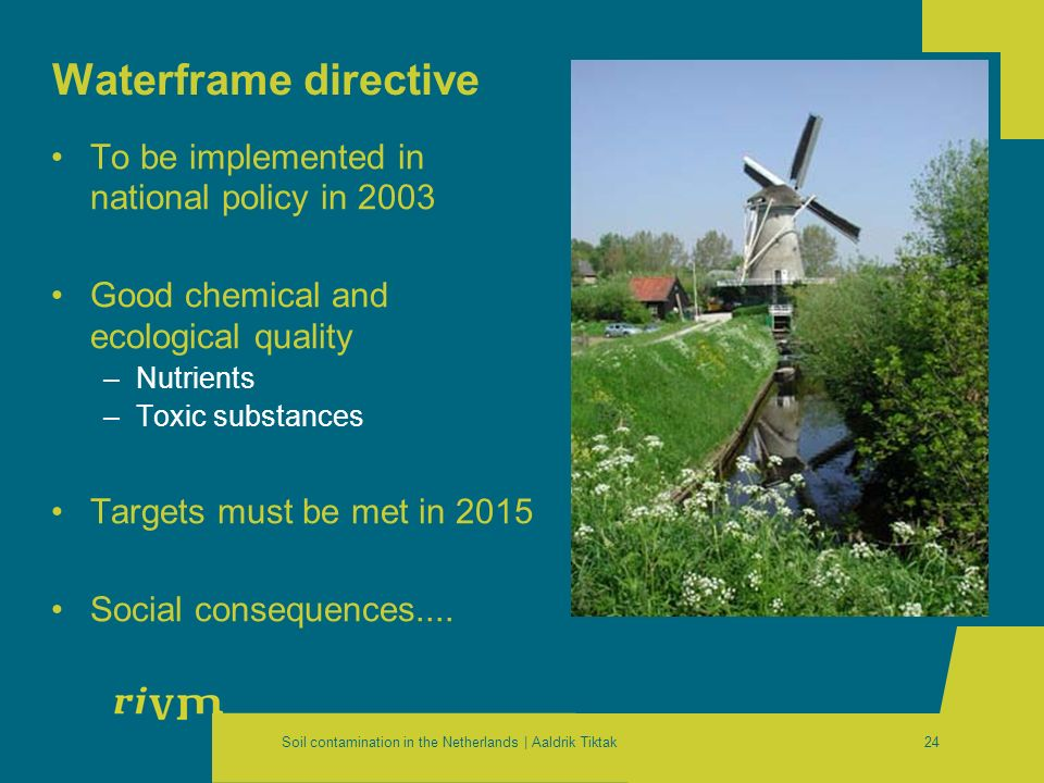 Soil contamination in the Netherlands | Aaldrik Tiktak24 To be implemented in national policy in 2003 Good chemical and ecological quality –Nutrients