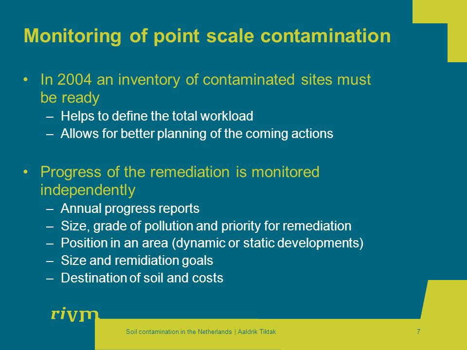 Soil contamination in the Netherlands | Aaldrik Tiktak7 Monitoring of point scale contamination In 2004 an inventory of contaminated sites must be rea