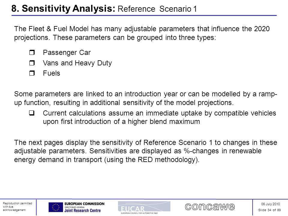 06 July 2010 Slide 34 of 89 Reproduction permitted with due acknowledgement 8. Sensitivity Analysis: Reference Scenario 1 The Fleet & Fuel Model has m