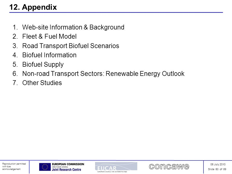 06 July 2010 Slide 50 of 89 Reproduction permitted with due acknowledgement 12. Appendix 1.Web-site Information & Background 2.Fleet & Fuel Model 3.Ro