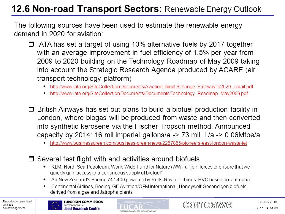 06 July 2010 Slide 84 of 89 Reproduction permitted with due acknowledgement 12.6 Non-road Transport Sectors: Renewable Energy Outlook The following so