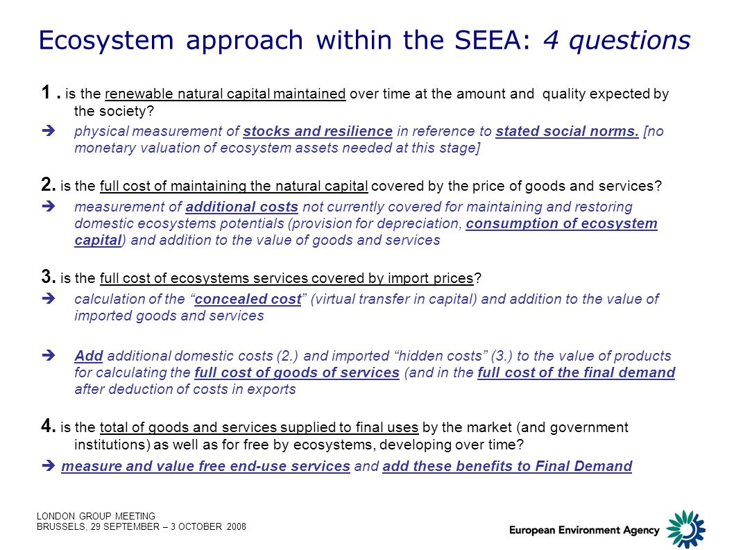 LONDON GROUP MEETING BRUSSELS, 29 SEPTEMBER – 3 OCTOBER 2008 Ecosystem approach within the SEEA: 4 questions 1.