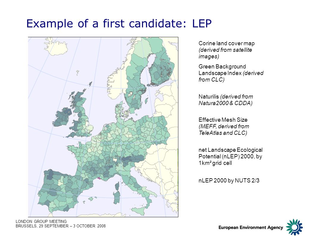 LONDON GROUP MEETING BRUSSELS, 29 SEPTEMBER – 3 OCTOBER 2008 Example of a first candidate: LEP Corine land cover map (derived from satellite images) G