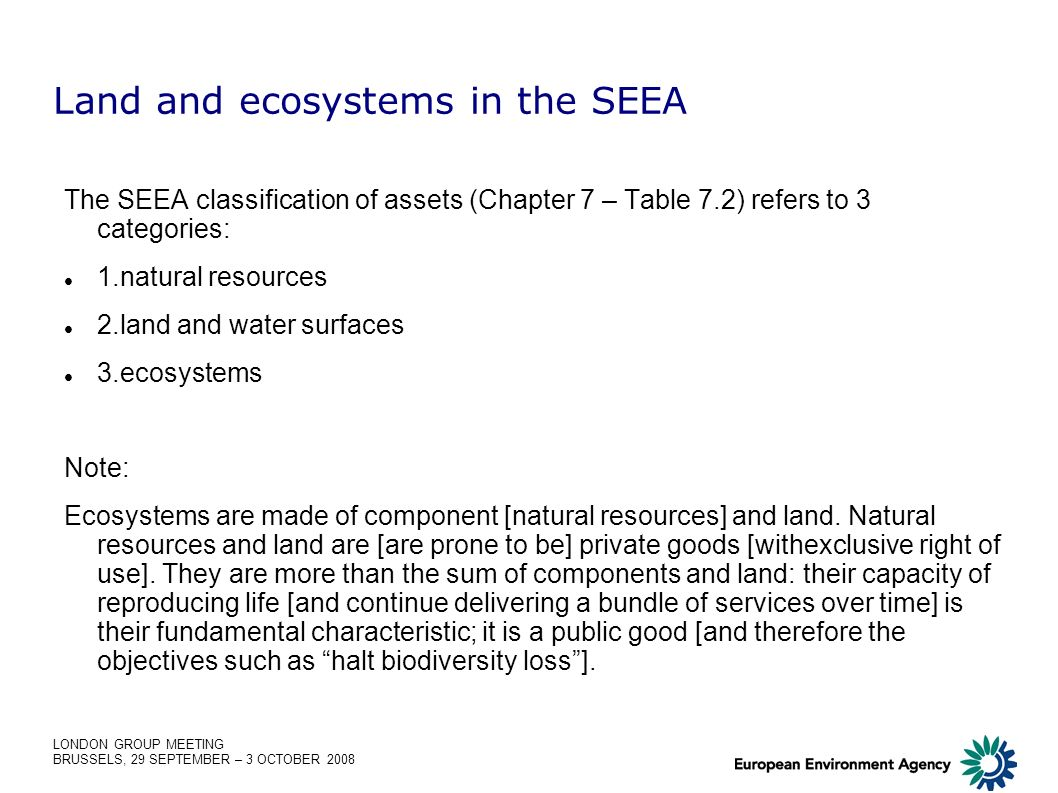 LONDON GROUP MEETING BRUSSELS, 29 SEPTEMBER – 3 OCTOBER 2008 Land and ecosystems in the SEEA The SEEA classification of assets (Chapter 7 – Table 7.2)