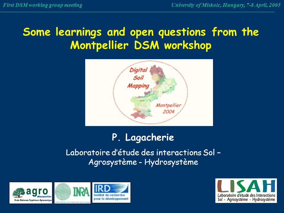 Some learnings and open questions from the Montpellier DSM workshop First DSM working group meeting University of Miskolc, Hungary, 7-8 April, 2005 P.