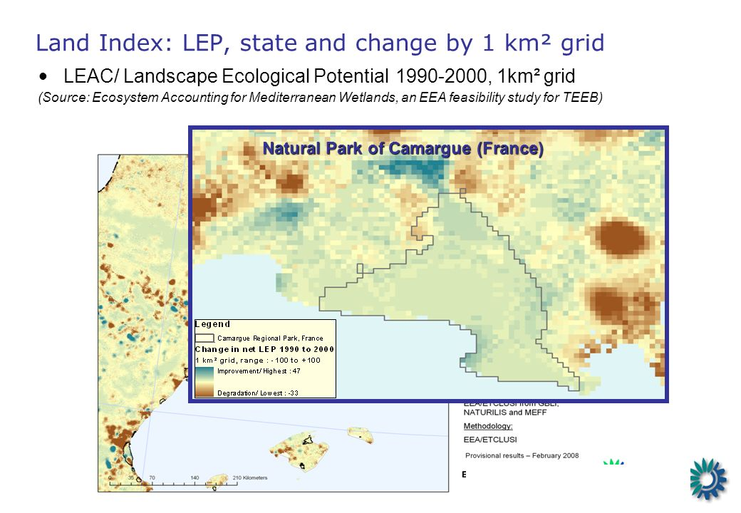 1990 Change 1990-2000 LEAC/ Landscape Ecological Potential 1990-2000, 1km² grid (Source: Ecosystem Accounting for Mediterranean Wetlands, an EEA feasibility study for TEEB) Land Index: LEP, state and change by 1 km² grid Natural Park of Camargue (France)