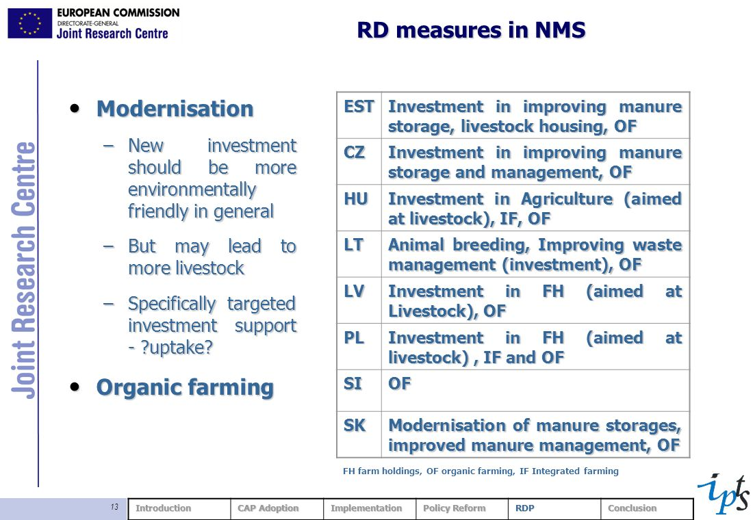 13 RD measures in NMS Modernisation Modernisation –New investment should be more environmentally friendly in general –But may lead to more livestock –Specifically targeted investment support - uptake.