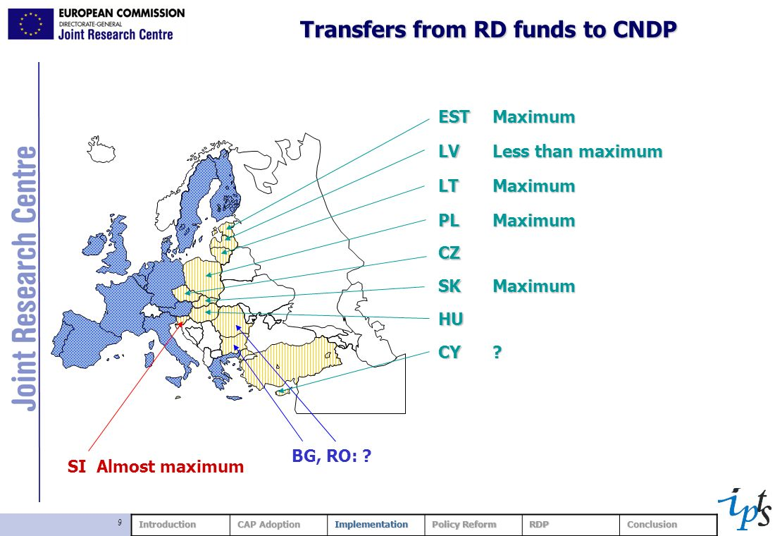 9 Transfers from RD funds to CNDP ESTMaximumLV Less than maximum LTMaximum PLMaximum CZ SKMaximum HU CY? BG, RO: ? SI Almost maximum Introduction CAP