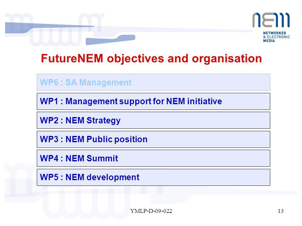 13YMLP-D-09-022 WP6 : SA Management WP1 : Management support for NEM initiative WP2 : NEM Strategy WP3 : NEM Public position WP4 : NEM Summit WP5 : NE