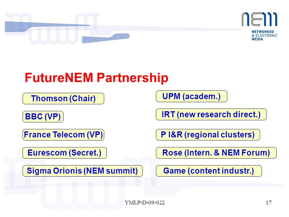 17YMLP-D-09-022 FutureNEM Partnership Thomson (Chair) Eurescom (Secret.) IRT (new research direct.) Rose (Intern. & NEM Forum) P I&R (regional cluster