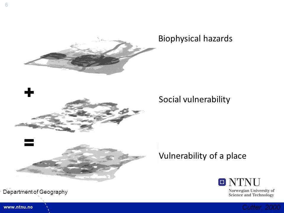 6 Department of Geography Biophysical hazards + Social vulnerability = Vulnerability of a place Cutter, 2000