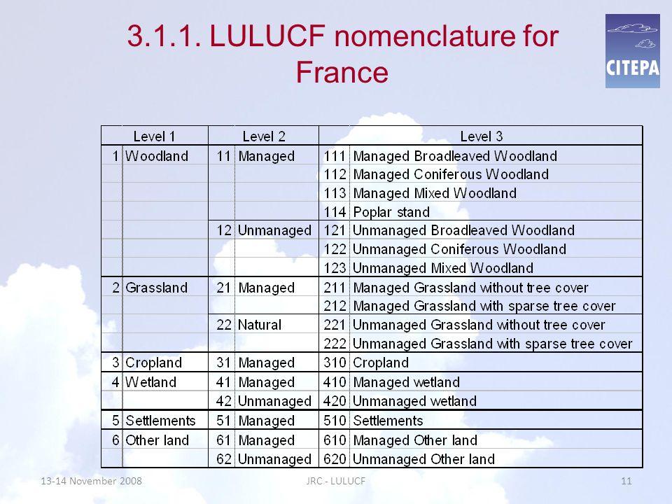 3.1.1. LULUCF nomenclature for France 13-14 November 200811JRC - LULUCF