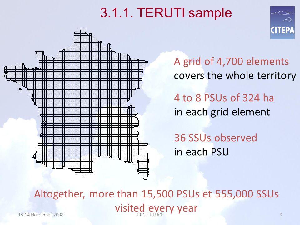 3.1.1 TERUTI sample The SSU represents a surface of 100 ha 13-14 November 200810JRC - LULUCF